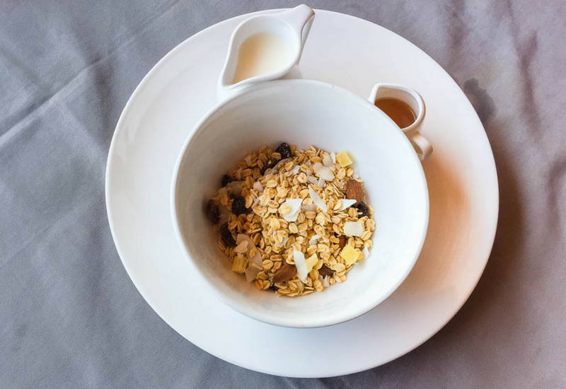 Muesli is just one of the healthy breakfast options at Villa Nero. Seriously the best place to stay in Gili Trawangan