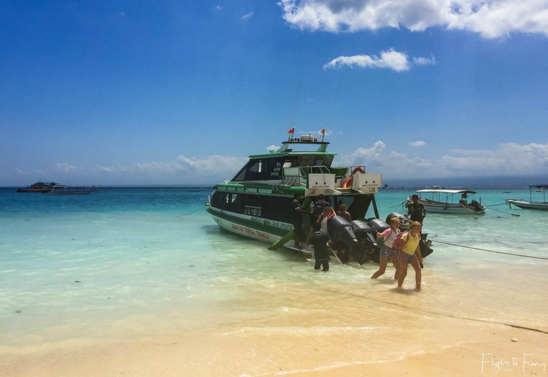 Scoot Fast Cruises docked on Nusa Lembongan beach. This is the fast boat to Gili Trawangan