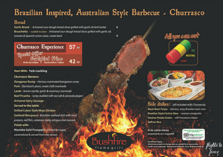 Flights To Fancy: Bushfire Flame Grill Cairns - Menu