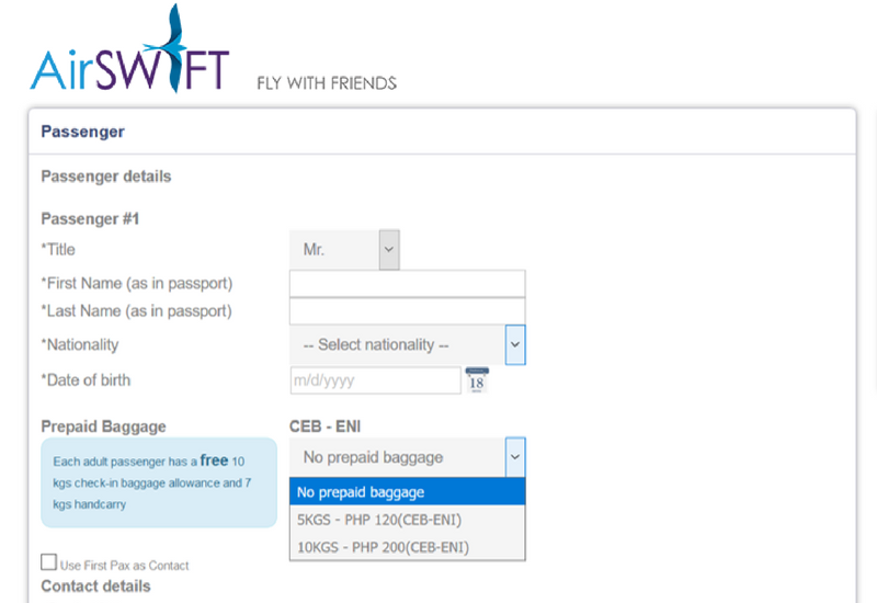 Airswift Airlines Online Booking