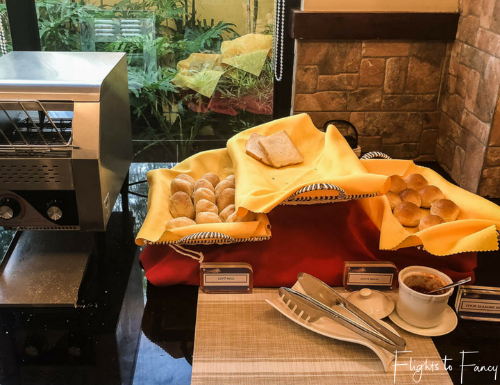 Hotels in Coron Philippines: Breakfast bread station at Sunlight Guest Hotel Coron Palawan