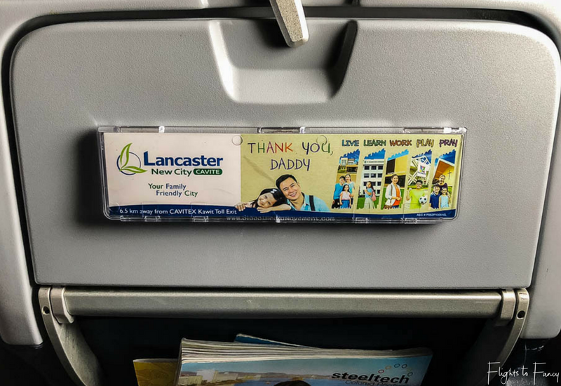 Cebu Pacific tray table advertising