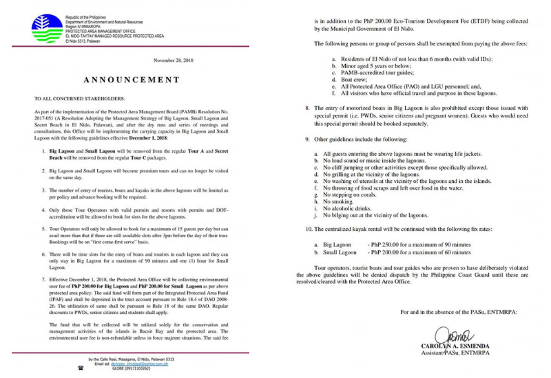 El Nido Announcement