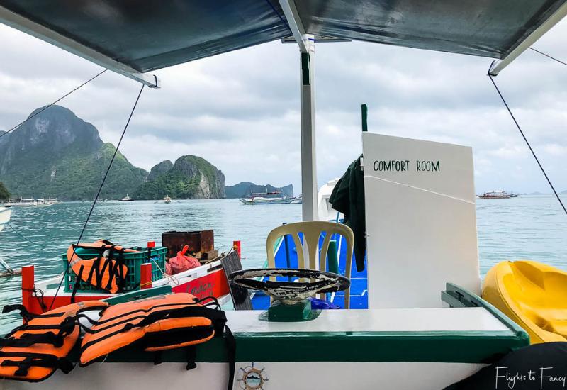 El Nido Tour A - Bangka Boat Comfort Room