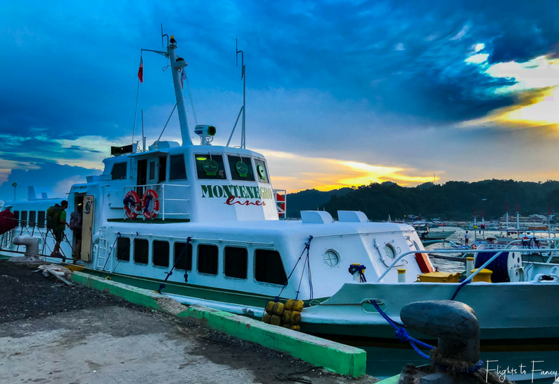 Montenegro Lines Fast Ferry at El Nido Port at sunrise