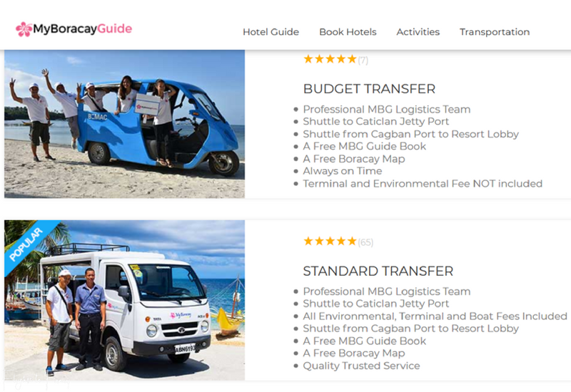 My Boracay Guide offers transfers from Caticlan or Kalibo or Boracay