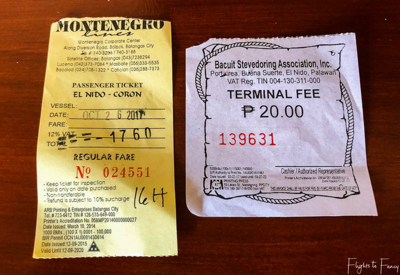 Ticket for Montenegro Lines El Nido Coron ferry