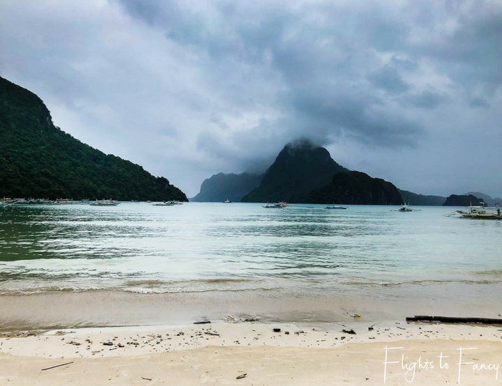 Stormy view across main beach El Nido