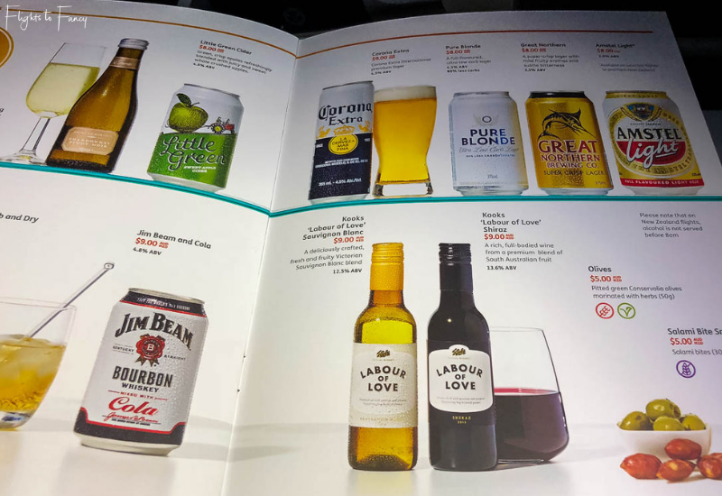 Drinks selection Jetstar Flight to Honolulu