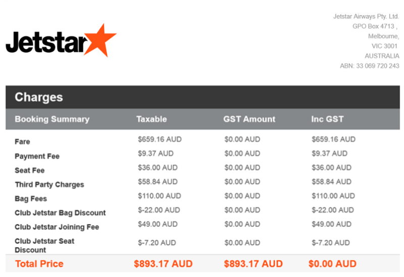 Jetstar Flight to Honolulu Tax Invoice