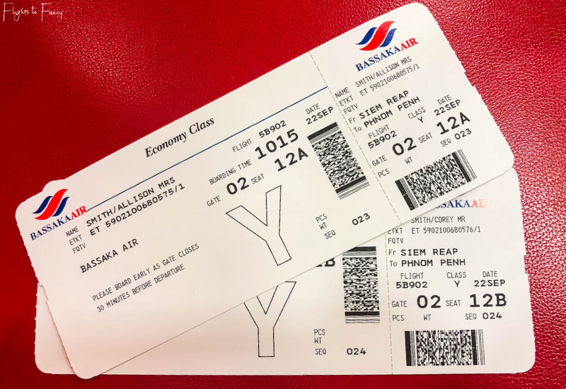 Bassaka Air Review: Boarding Passes for our flight from Siem Reap to Phnom Penh