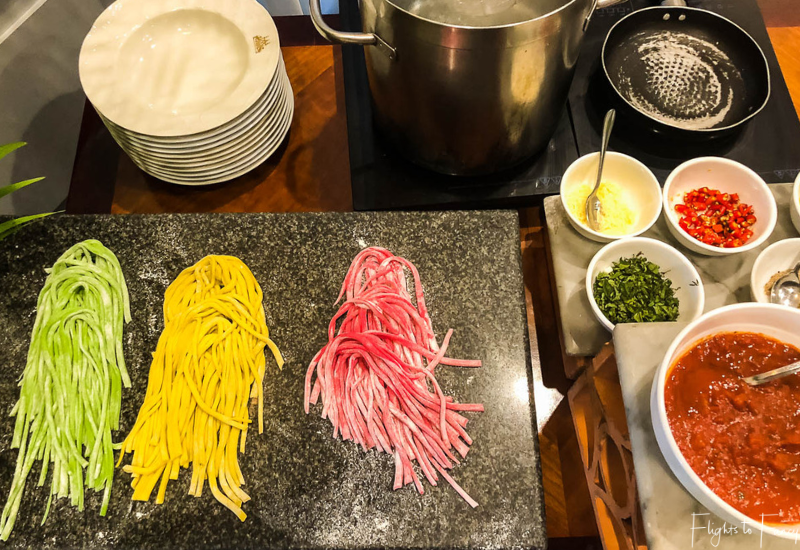 Cook to order pasta station at the premium brunch Phnom Penh Raffles Hotel Restaurant