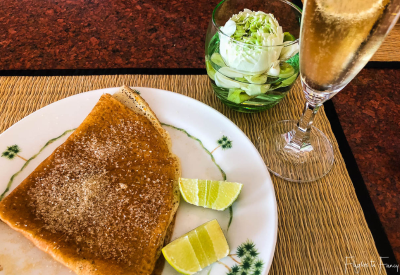 Crepes and champagne for Breakfast in Phnom Penh @ Raffles Hotel Le Royal