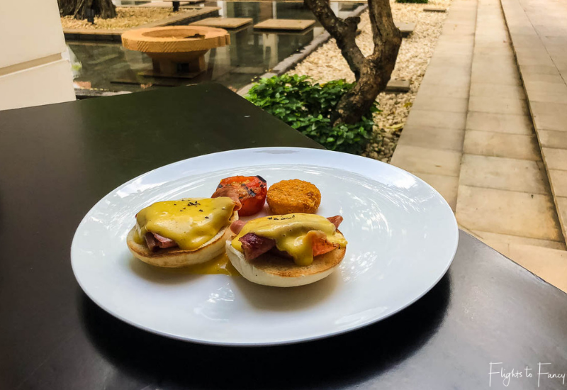 Eggs Benedict without the eggs. Siem Reap Breakfast at Park Hyatt Siem Reap Luxury Hotel