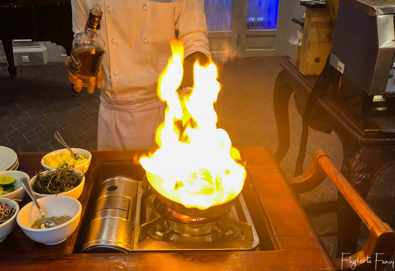 Flambe lobsters for brunch Phnom Penh Raffles Hotel Restaurant
