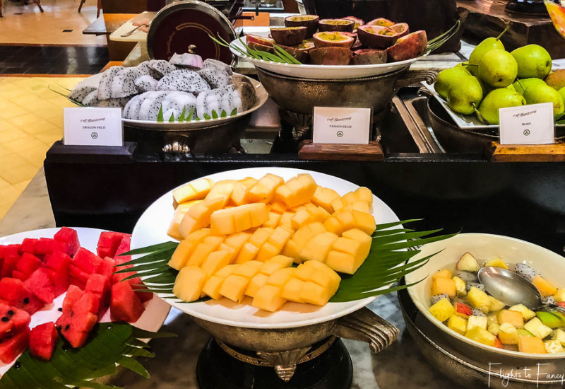 Fruit station at breakfast in Phnom Penh at Raffles Hotel Le Royal