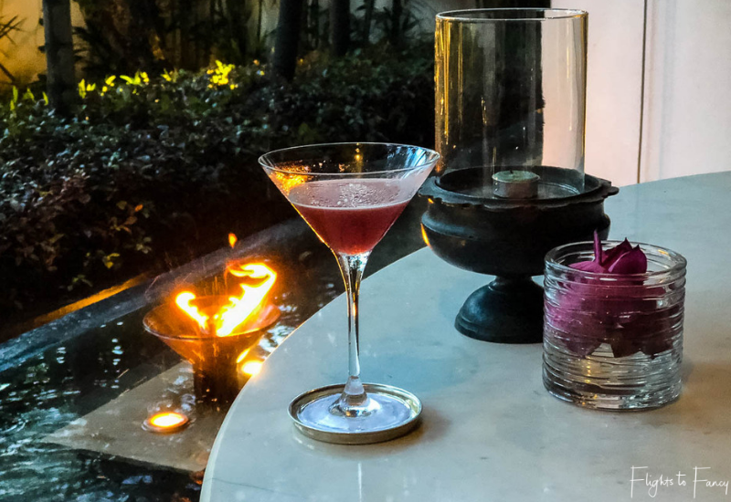 Happy hour cocktail at The Living Room Park Hyatt luxury hotel in Siem Reap