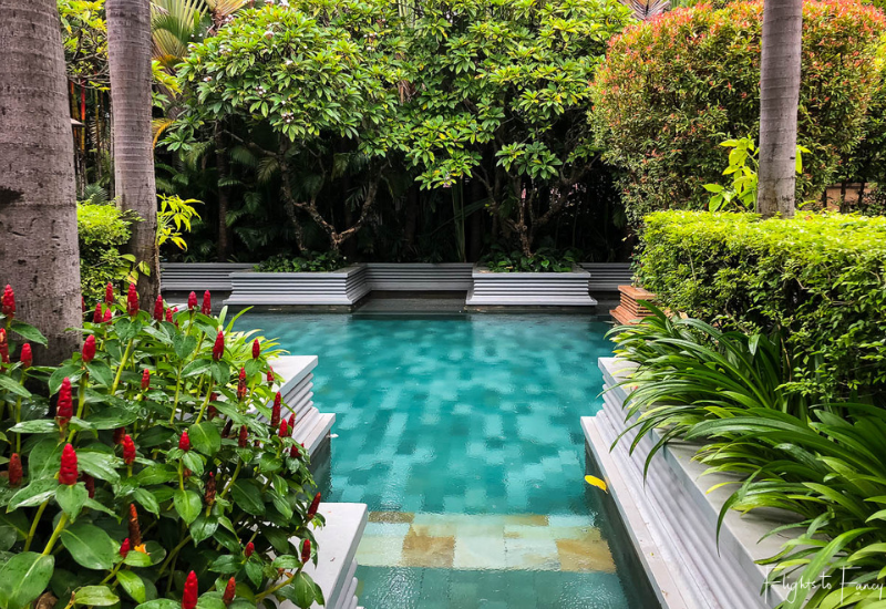 Lush planting poolside at the Park Hyatt Siem Reap