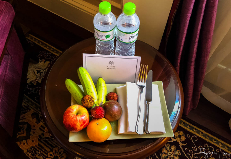 Raffles Hotels welcome guests with fruit in the room
