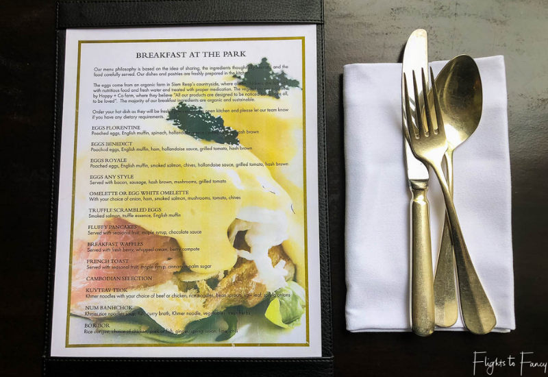 Siem Reap Breakfast Menu at the Park Hyatt