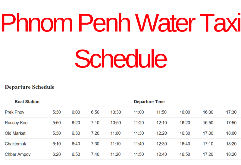 Transport in Phnom Penh - Water Taxi Schedule