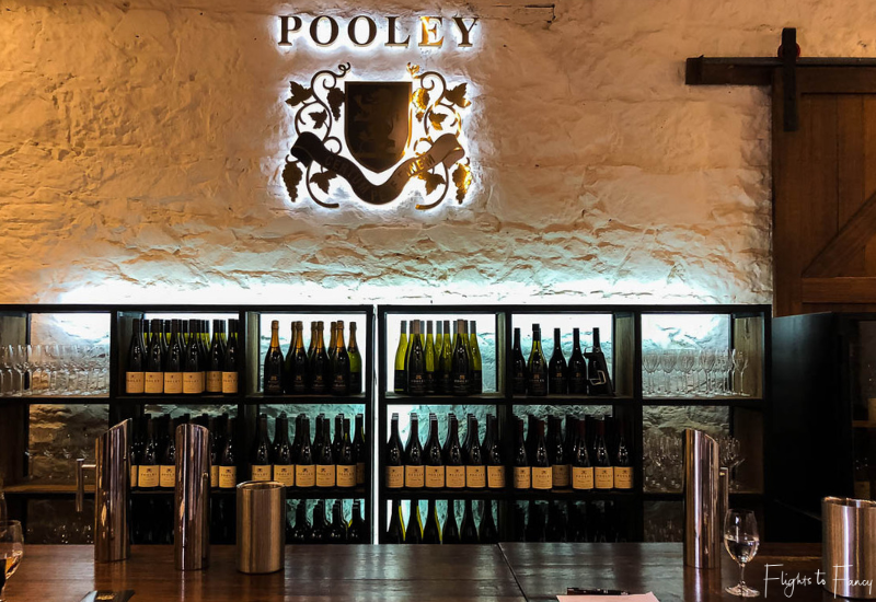 Glass of Tasmanian White Wine on the bar at Pooley Wines Cellar Door