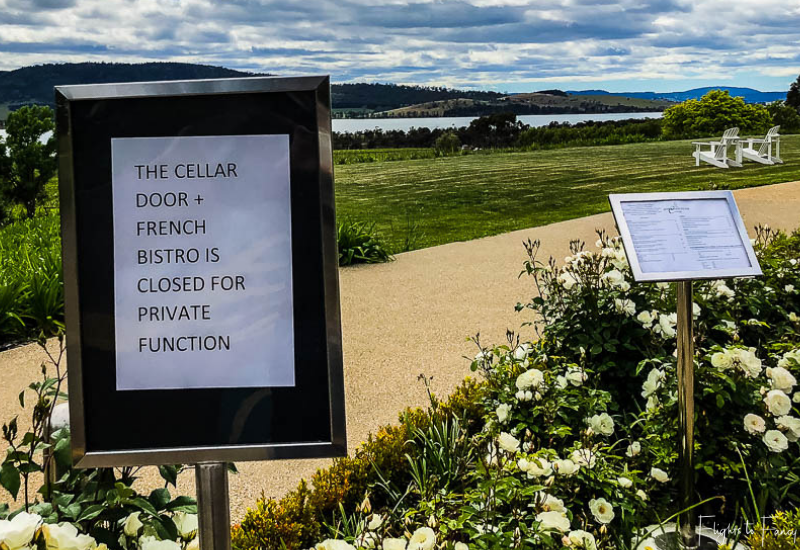 Hobart Wineries: Riversdale Estate Winery Closed Sign
