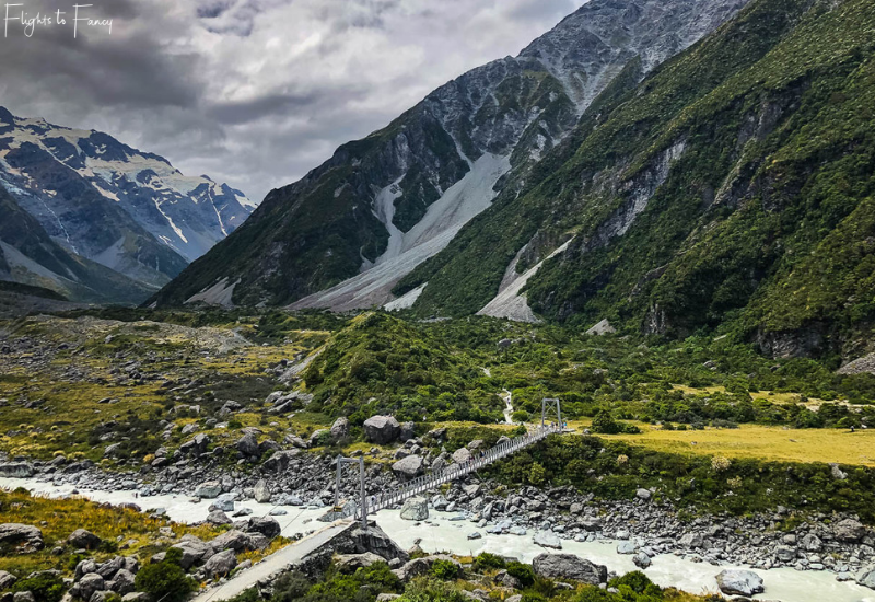 Mount Cook Walks: First suspension bridge Hooker Valley Track