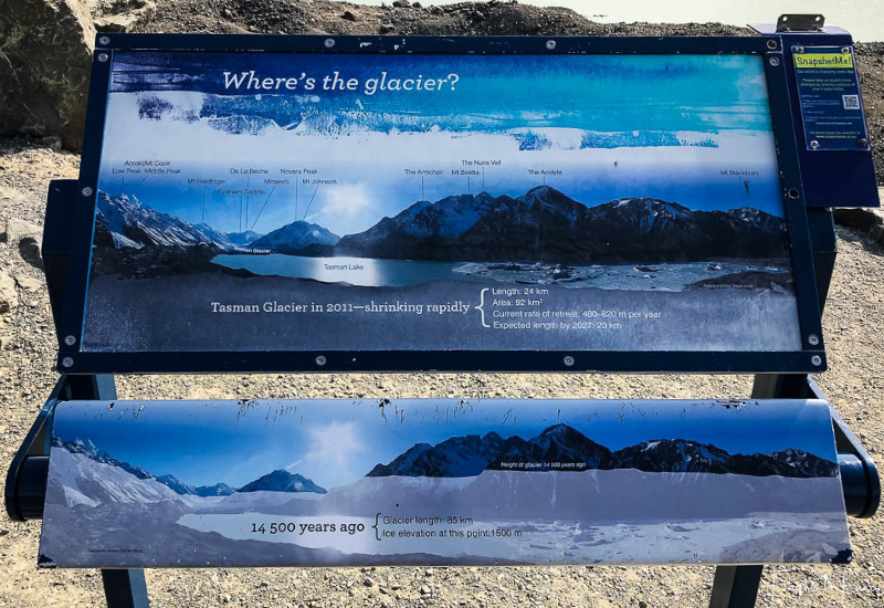 Mount Cook Walks: Tasman Glacier Information Sign