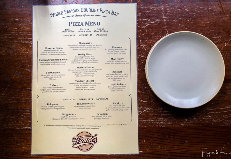 Winnies Pizza Queenstown Menu