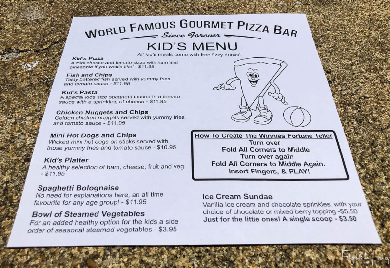 Winnies Queenstown Kids Menu