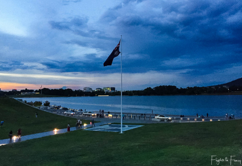 Night Noodle Markets Canberra Enlighten - Sunset across lake Burley Griffin
