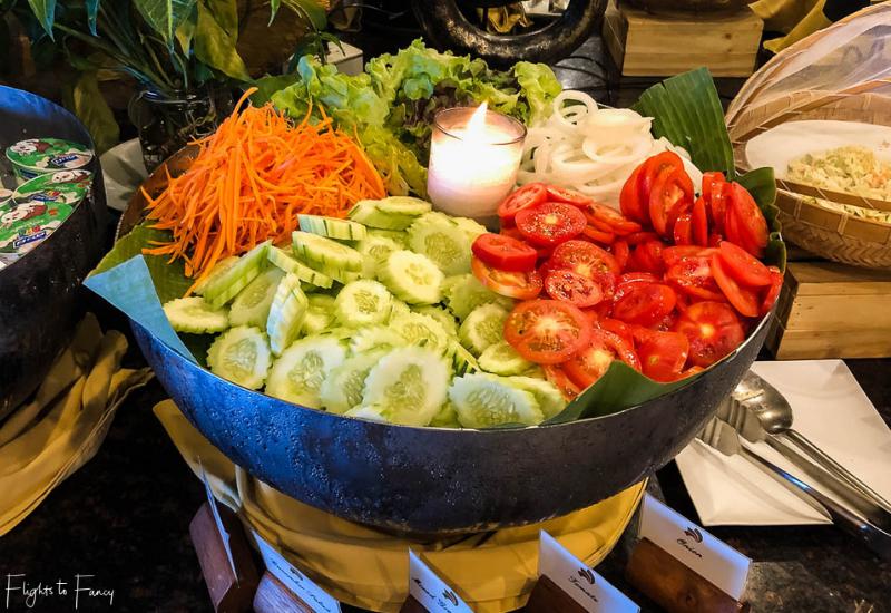 Breakfast salad bar at Sabai Restaurant Impiana Koh Samui luxury hotel