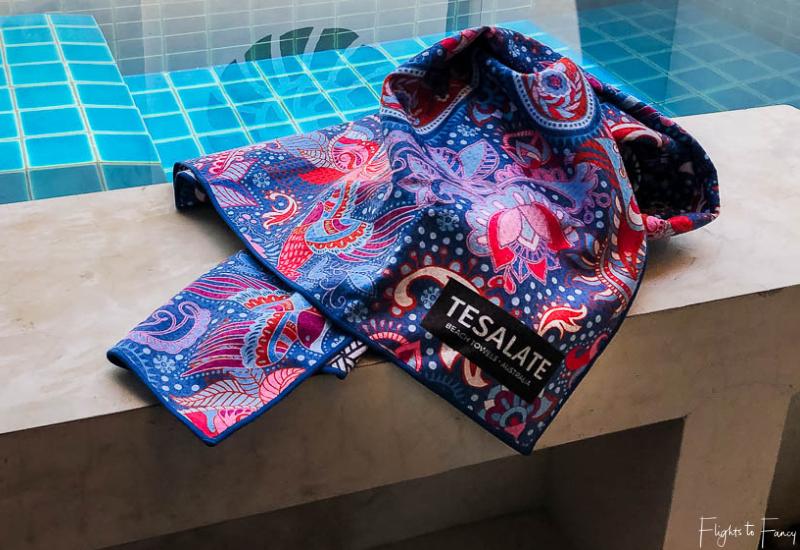 Tesalate Beach Towel in Cosmic Dream beside our private pool at Lanta Sand Resort & Spa Koh Lanta