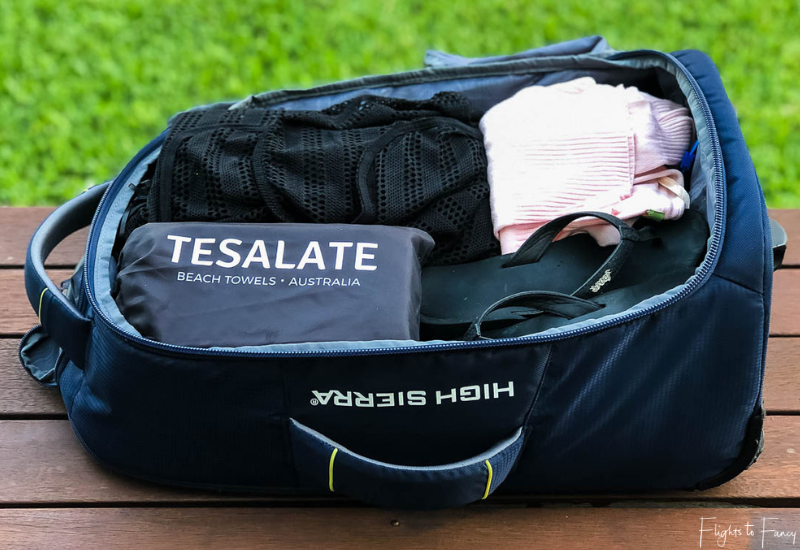 Tesalate Beach Towel packed for carry on travel
